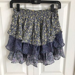 Joie Floral Print with Tiered Ruffle Skirt Sz XS